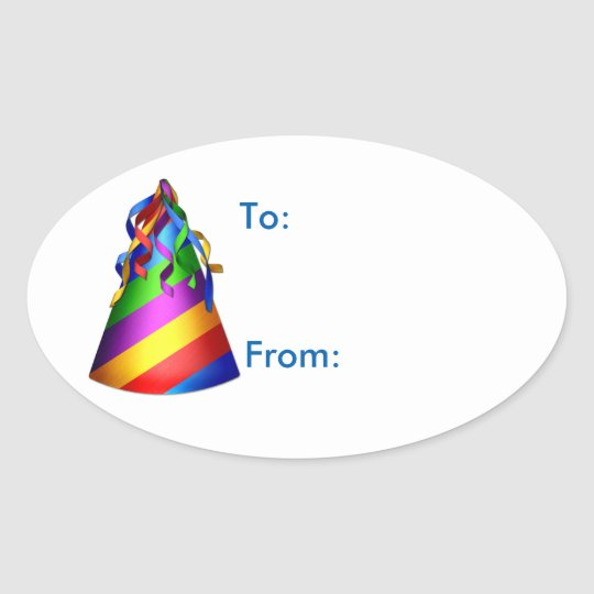 Birthday Party Sharks Hat Gift Tag Sticker