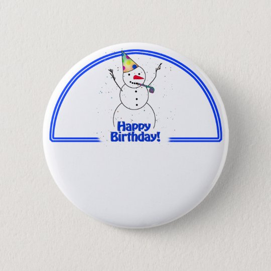 Birthday Party Snowman 6 Cm Round Badge