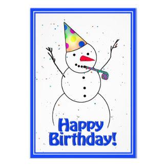 Birthday Party Snowman Custom Invites