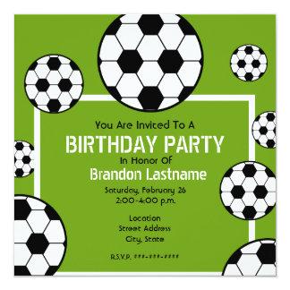 Birthday Party - Soccer Field & Soccer Balls 13 Cm X 13 Cm Square Invitation Card