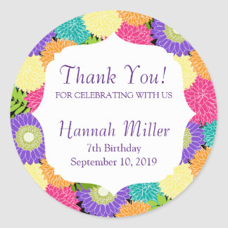 Birthday Party Spring Blooms Thank You Classic Round Sticker