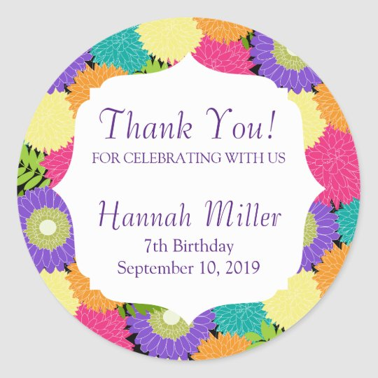 Birthday Party Spring Blooms Thank You Classic Round
