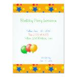 """Birthday Party Stars Balloons Invitation 5.5"""" X 7.5"""" Invitation Card"""