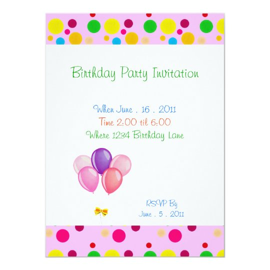 Birthday Party Stars Balloons Invitation
