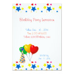 Birthday Party Stars Balloons Invitation