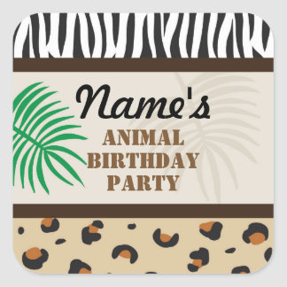 Birthday Party Stickers Animal Print Safari Zoo