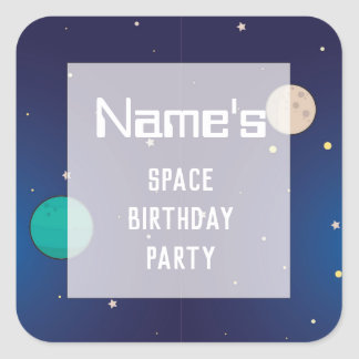 Birthday Party Stickers Space Galaxy Planets Sky