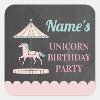 Birthday Party Stickers Unicorn Carousel Pink