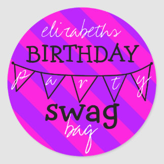 Birthday Party Swag Bag Classic Round Sticker