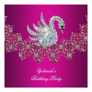 Birthday Party Swan pink Floral Black 13 Cm X 13 Cm Square Invitation Card