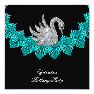 Birthday Party Swan Teal Blue Floral Black Card