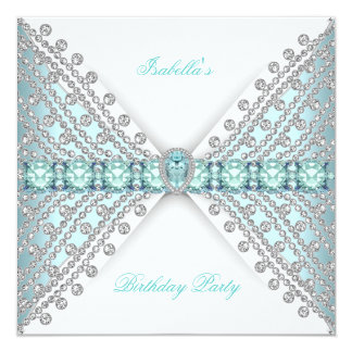 Birthday Party TEAL BLUE Silver White Diamond 13 Cm X 13 Cm Square Invitation Card