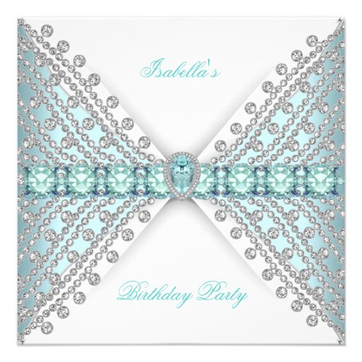 Birthday Party TEAL BLUE Silver White Diamond Invites