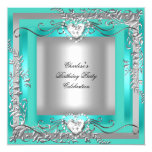 Birthday Party Teal Blue Turquoise Silver 13 Cm X 13 Cm Square Invitation Card