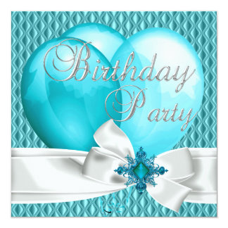 Birthday Party Teal Blue White Bow Balloons Card