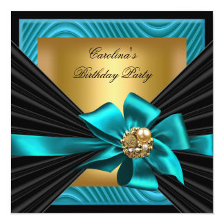 Birthday Party Teal Gold Black Ripple 13 Cm X 13 Cm Square Invitation Card