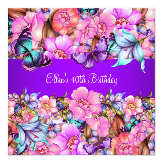 Birthday Party Teal Purple blue Pink Butterfly Card
