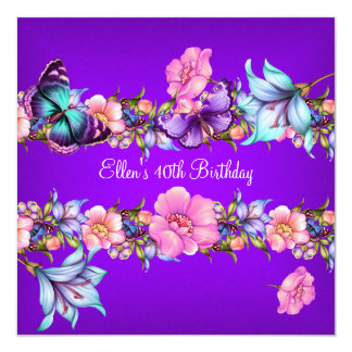 Birthday Party Teal Purple blue Pink Butterfly 5.25x5.25 Square Paper Invitation Card