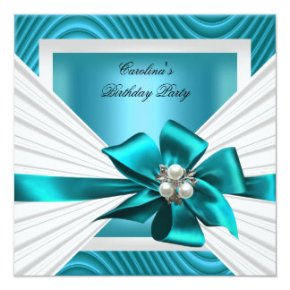 Birthday Party Teal White Pearl Ripple 13 Cm X 13 Cm Square Invitation Card
