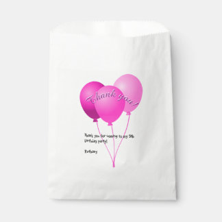 """Birthday Party  """"Thank you""""  Girly Pink Balloons Favour Bags"""
