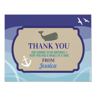 Birthday Party Thank You Invite Card Whale Sea