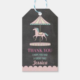 Birthday Party Thank You Tags Unicorn Carousel