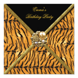 Birthday Party Tiger Animal Print Gold Black Image 13 Cm X 13 Cm Square Invitation Card