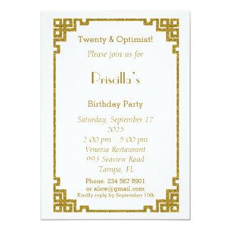 Birthday party, Twenty, Gatsby style, white & gold 13 Cm X 18 Cm Invitation Card