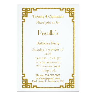 Birthday party, Twenty, Gatsby style, white & gold Card