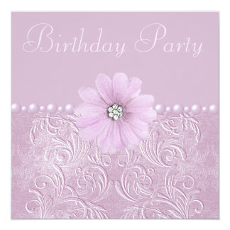 Birthday Party Vintage Lilac Flowers & Pearls 13 Cm X 13 Cm Square Invitation Card