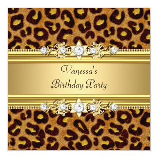 Birthday Party Wild Animal Print Gold Black 13 Cm X 13 Cm Square Invitation Card