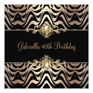 Birthday Party Wild Black Coffee Pearl Trim 40th Personalized Announcements