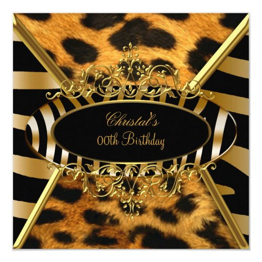 Birthday Party Wild Gold Black Zebra Leopard Card