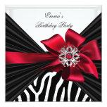 Birthday Party Zebra Elegant Red Black White Invite