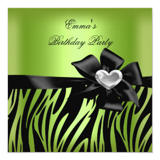 Birthday Party Zebra Silver Lime Green Black 13 Cm X 13 Cm Square Invitation Card