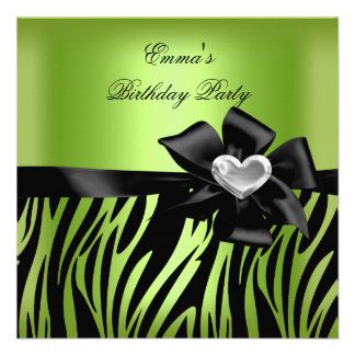 Birthday Party Zebra Silver Lime Green Black Announcements