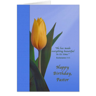 Birthday, Pastor, Golden Tulip Flower Card