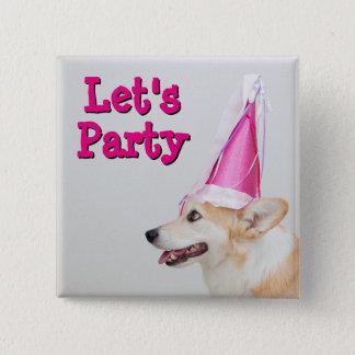 Birthday Pembroke Welsh Corgi Dog 15 Cm Square Badge