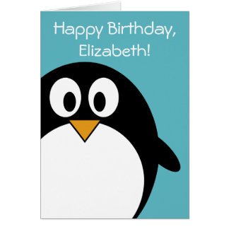 Birthday Penguin Customizable Greeting Card