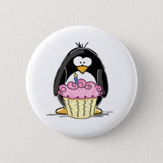 Birthday Penguin with Cupcake 6 Cm Round Badge