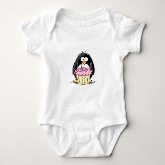 Birthday Penguin with Cupcake Baby Bodysuit