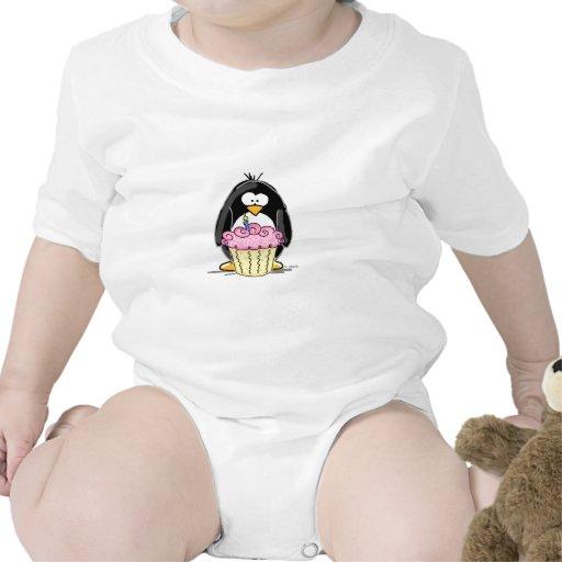 Birthday Penguin with Cupcake Baby Bodysuits