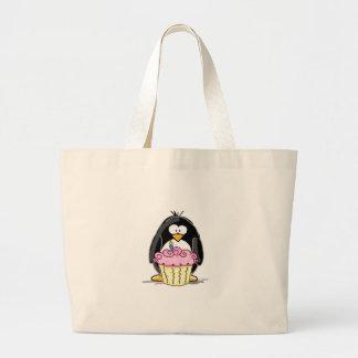 Birthday Penguin with Cupcake Jumbo Tote Bag