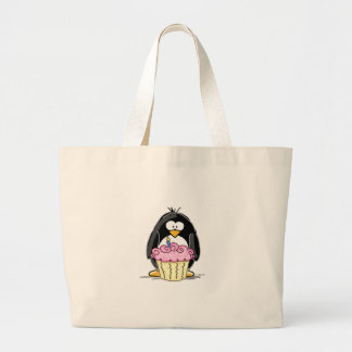 Birthday Penguin with Cupcake Large Tote Bag