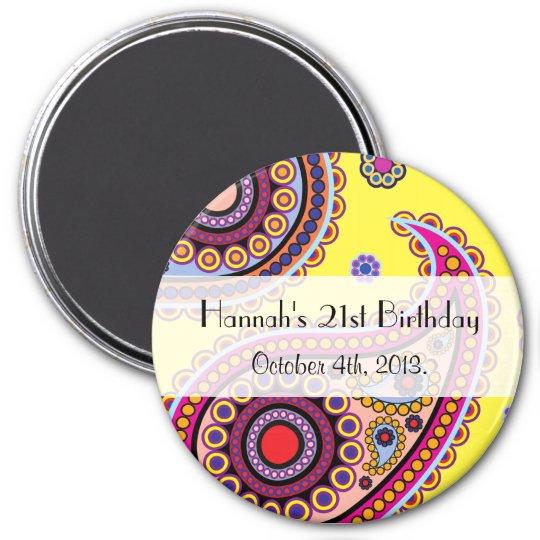 Birthday - Persian Paisley, Dots - Yellow Blue 7.5 Cm Round Magnet