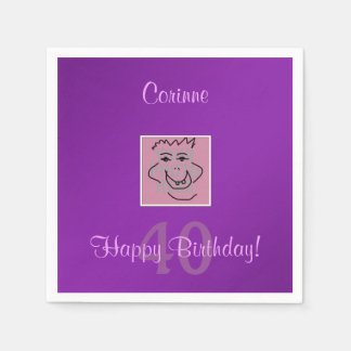 Birthday Personal Photo and Text Purple Paper Napkin