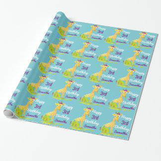 Birthday Personalized Girls Watercoler Giraffe Wrapping Paper