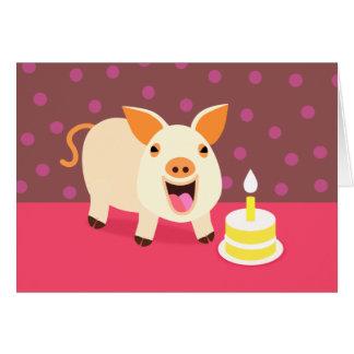 Birthday Pig & Cake Greeting Card