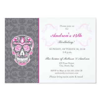 Birthday Pink Skull Damask Party Invitation Card