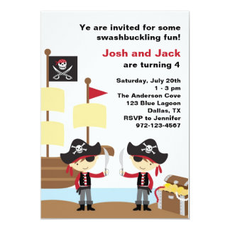 Birthday Pirates 13 Cm X 18 Cm Invitation Card
